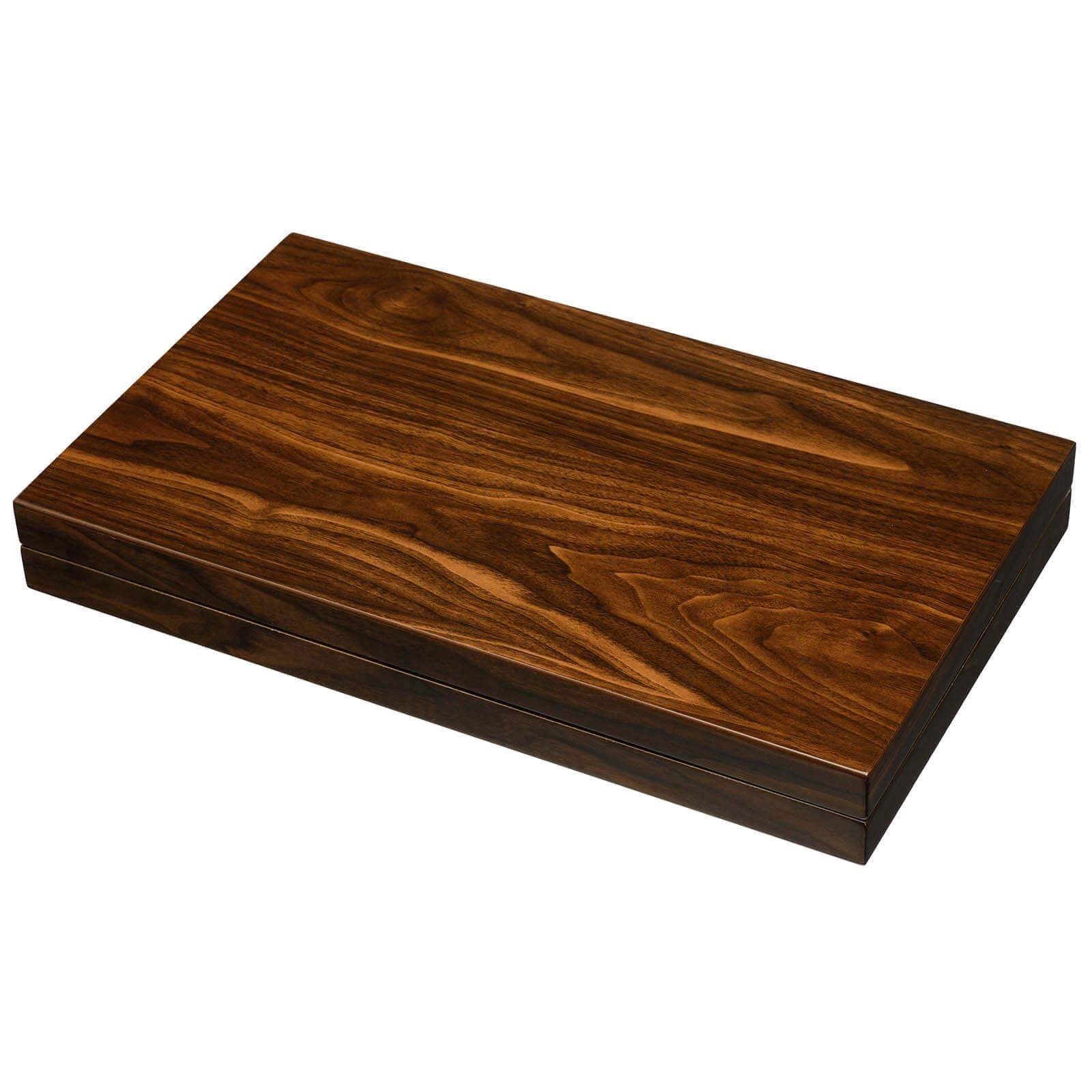 Wood Grain Lacquer Backgammon Set Closed