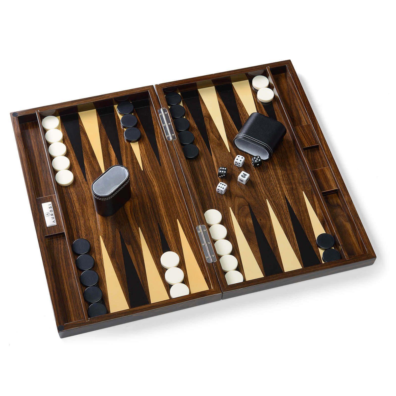Wood Grain Lacquer Backgammon Set Open