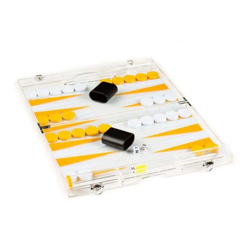 Acrylic Backgammon Set in Yellow White Open