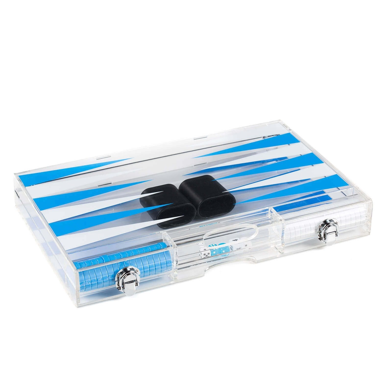 Acrylic Backgammon Set in Baby Blue and White Closed
