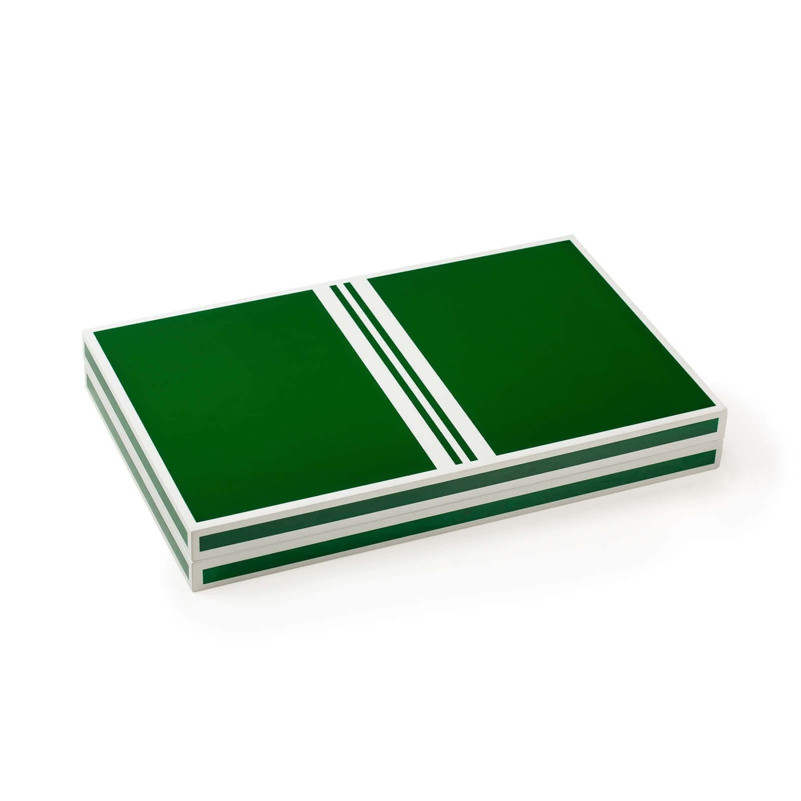 Lacquer Backgammon in Green and White Closed