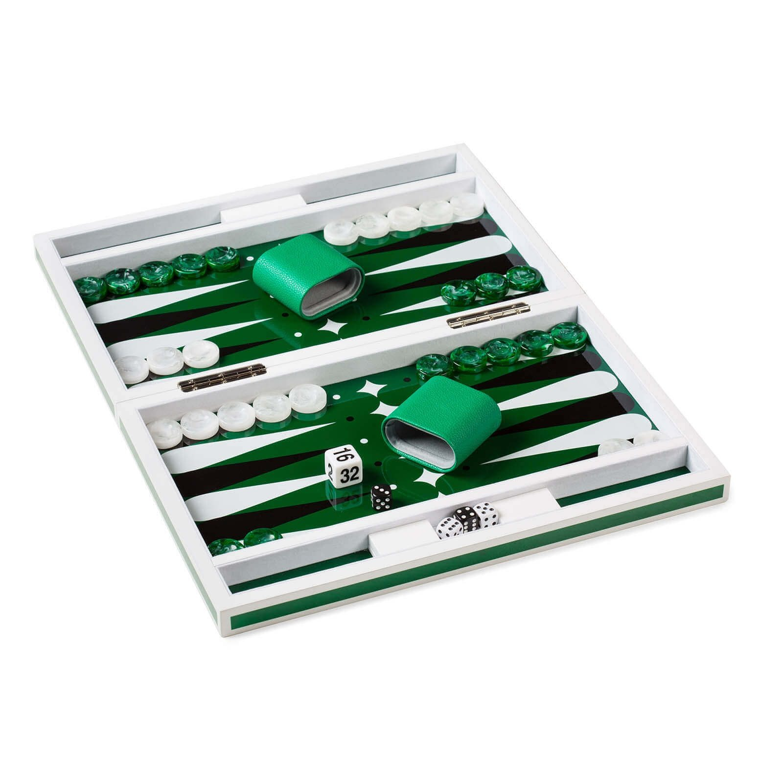 Lacquer Backgammon in Green and White Open