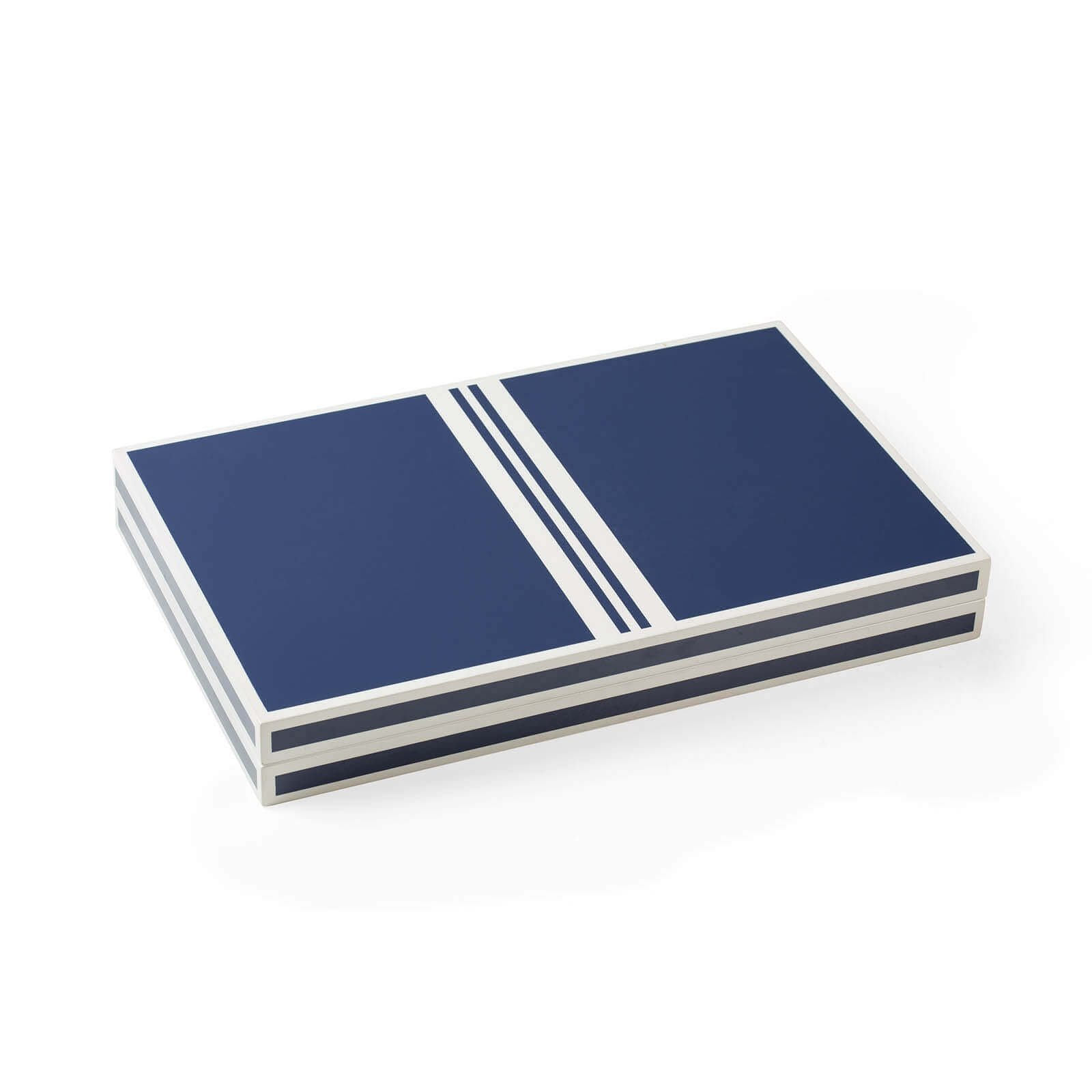 Lacquer Backgammon in Blue and White Closed