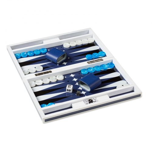 Lacquer Backgammon in Blue and White Open