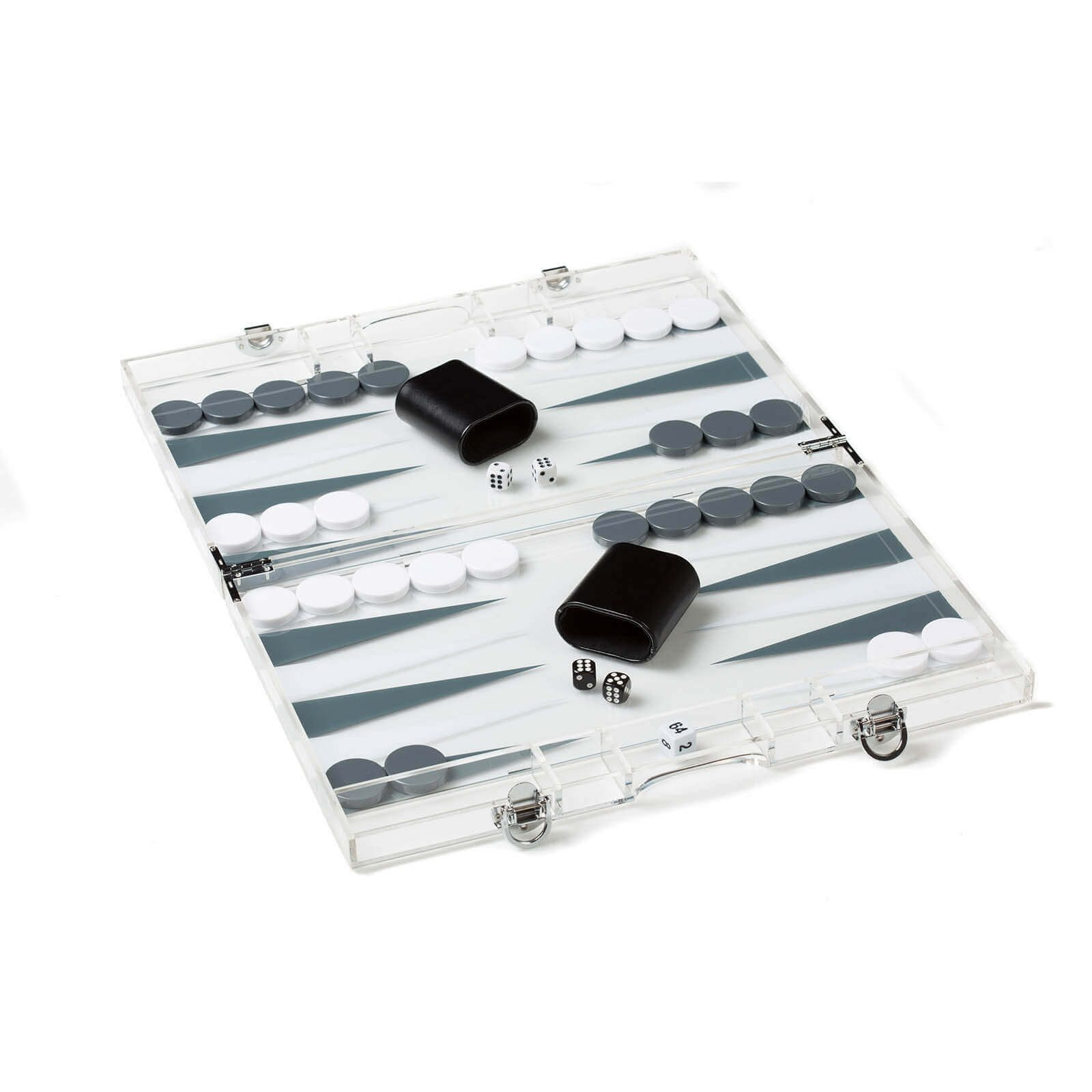 Acrylic Backgammon Set in grey and Open