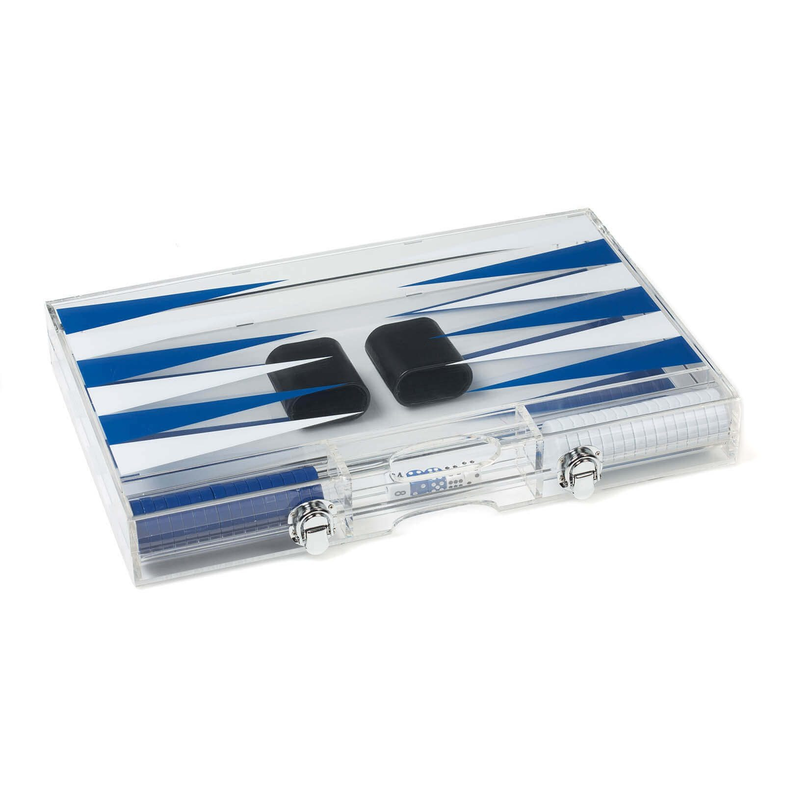 Acrylic Backgammon Set in Dark Blue and White Closed