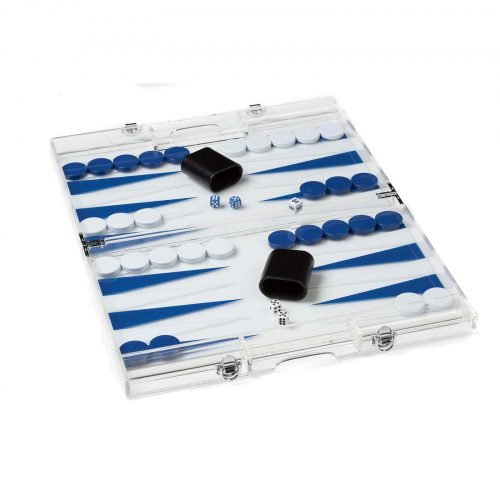 Acrylic Backgammon Set in Dark Blue and White Open