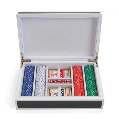 Lacquer Poker Set in Grey and White