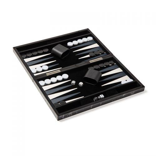 Marble Backgammon Set with Black Velvet interior
