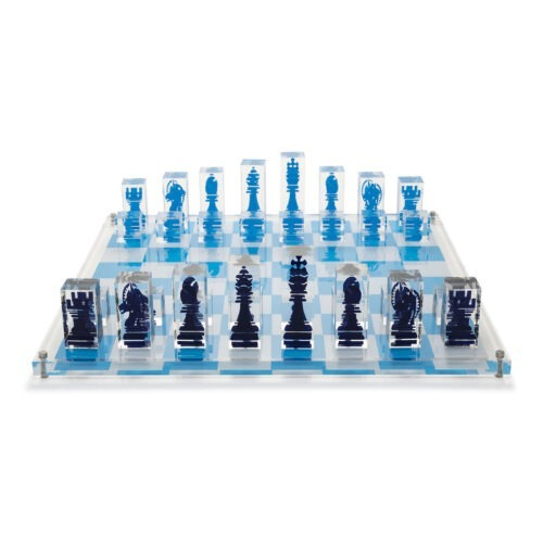 Acrylic Chess Set with Dark Blue and Light Blue pieces